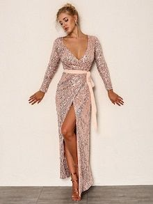 Shop Joyfunear Deep V Neck Sequin Belted Dress online. SheIn offers Joyfunear Deep V Neck Sequin Belted Dress & more to fit your fashionable needs. Belted Dress, Dress P, Sequin Dress, Dress Outfits, Casual Dresses, Wrap Dress, Dress Clothes, Boy Outfits, Check Dress