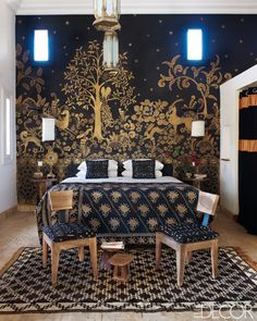 I love the idea of a pattern, mural, or a big focal point in the master bedrooms