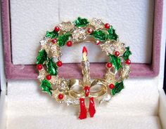 Vintage Gerry's Christmas Holiday Wreath Candle Bow Enamel Brooch Pin BOOK PIECE #Gerrys #GerrysChristmasWreathwithCandleBowBrooch