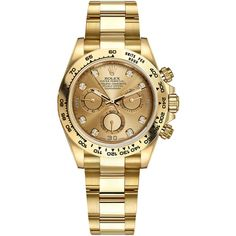 Rolex Cosmograph Daytona Yellow Gold 116508 Champagne Diamond Oyster... ($30,012) ❤ liked on Polyvore featuring men's fashion, men's jewelry, men's watches, engraved mens watches, mens diamond watches, mens gold watches, rolex mens watches and mens gold diamond watches