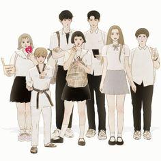 Wattpad Cover Template, Anime Best Friends, Aesthetic Drawing, Cartoon Art Styles, I Love Anime, Paper Dolls, Webtoon, Line Art, Art Drawings