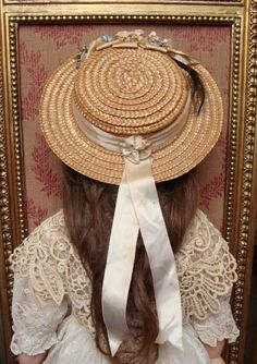 Nice antique straw hat for french or german dolls. from les-fees-du-temps on Ruby Lane