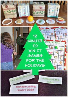 Christmas games and party ideas for kids & families -- Entertain your family over the holidays with these easy holiday Minute to /win it games & challenges! Also a great idea for classroom parties Family Party Games, Holiday Party Games, Kids Party Games, Fun Games, Xmas Games, Christmas Games For Kids, Christmas Activities, Advent Games, Family Activities