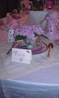 My daughters birthday Party.  Fresh flowers in tea cups making the perfect place setting for a tea party. Homemade seating arrangement cards... It was a beautiful party indeed.