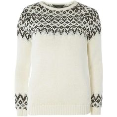 Dorothy Perkins Oatmeal Embellished Fairisle Jumper ($49) ❤ liked on Polyvore featuring tops, sweaters, beige, fair isle sweater, white embellished top, fairisle sweater, jumper top and dorothy perkins