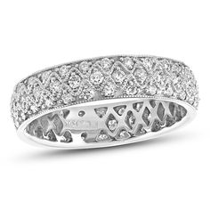 1 CT. T.W. Diamond Vintage-Style Eternity Band in 14K White Gold (I/SI2)