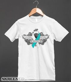 Cervical Cancer Survivor Wing Tattoo Shirts by http://skreened.com/cancershirts/category/cancer-survivor-tattoo-wings #cancerawareness #awarenessribbonshirts #CervicalCancer