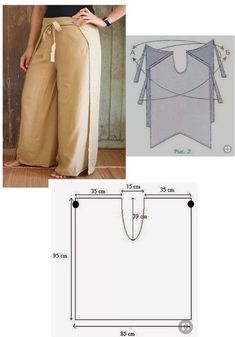 Diy Clothing, Sewing Clothes, Dress Sewing Patterns, Clothing Patterns, Fashion Sewing, Diy Fashion, Wrap Pants, Sewing Basics, Pants Pattern