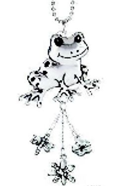 """Amazon.com: Cool & Custom {7"""" Chain Hang} Single Unit of Rear View Mirror Hanging Ornament Decoration Made of Zinc Alloy w/ Cute Wildlife Animals Happy Spotted Frog w/ Charms Design [Volvo Silver& Black Colored]: Automotive"""