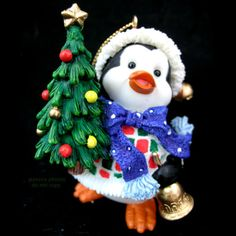 New Christmas Holiday Santa Hat Penguin Tree Ornaments Gold Bell Gift Present $1 sorry SOLD ... we sell more CHRISTMAS DECORATIONS at http://www.TropicalFeel.com
