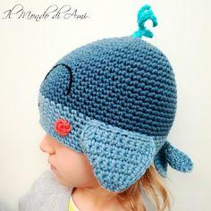 Berrettino acquatico #amigurumi #handmade #crochet #fattoamano #uncinetto #berretto #hat #bimbi #bimbe #child #balena #whale