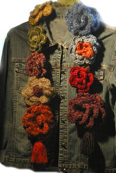Crochet flower scarf - not a tutorial but flowers are quite easy to make and can be attached to a scarf or crocheted chain