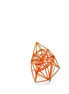 Arthur Hash / Orange Brooch / Stainless steel, mild steel and paint.
