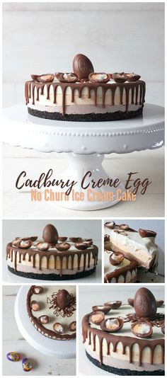 This simple yet delicious Cadbury Creme Egg no churn ice cream cake has an Oreo cookie base and is topped with Creme Eggs. Perfect for Easter!