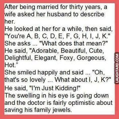 After being married for thirty years a wife asked  #funny #haha #lol #laughtard #funnypics #married