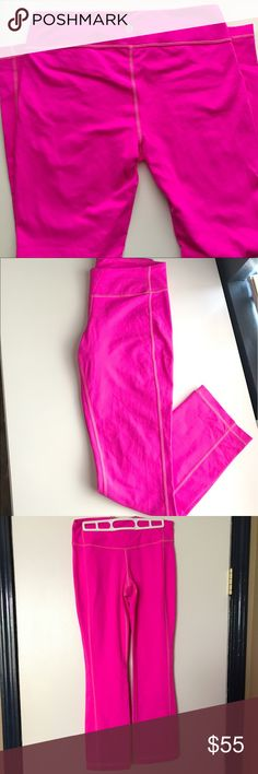 """NW✨ Lululemon 🍋 pink leggings 🌷 Excellent condition. Never worn! They are a size 8, no tag because I remove all my tags. Pretty sure they're the Wunder Under Low Rise (too many leggings to remember). They are a straight leg with  little bit of flare at the bottom to give it more style (as seen in last photo)🌷Hot pink color with bright stitching, lower or mid rise, and super cute! Inseam length is 26"""" and top of the waste is 14"""". No pulling what so ever, never worn, and I Don't see this…"""