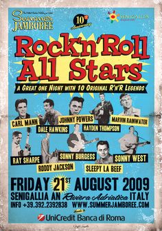Rock'n'Roll All Stars ... Summer Jamboree 2009 ... in the rockin town of Senigallia (Italy) ... Official Event Poster