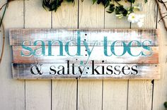 "30x11 Wood Pallet Beach Sign ""Sandy Toes and Salty Kisses"""