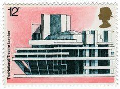 National Theatre, London. UK Royal Mail, 12p, 1975.