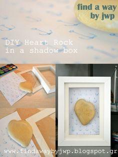 Heart Rock in a Shadow Box Wall Art