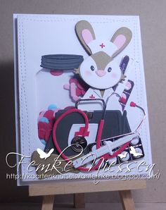 """Made by Femke Niessen: get well shaker card with nurse bunny. Eline Pellinkhof: collectable bunny. Marianne Design: creatables """"doctor, hospital""""."""