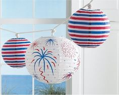 Here's a fun Memorial weekend activity: take plain white lanterns and use festive red and blue paint to decorate! #DIY
