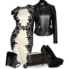 Leather and Lace by christa72 on Polyvore