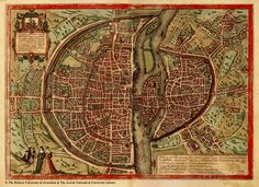 Old map of Paris. I love the city walls.