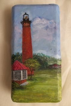 Acrylic Painting Of Currituck Lighthouse On A by ArtistTooStudios, $50.00 Painted Pavers, Painted Rocks, Hand Painted, Paint Edger, Brick Crafts, Stone Painting, Rock Painting, Brick Art, Flower Pot Crafts