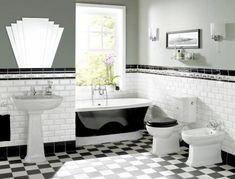 Vintage black and white bathroom ideas black and white vintage tile black white bathroom tile designs Black White Bathrooms, White Bathroom Tiles, Bathroom Flooring, Modern Bathroom, Bathroom Mirrors, Bathroom Faucets, 1930s Bathroom, Bathroom Cabinets, Art Deco Bathroom