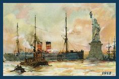 Quilt Block of vintage image printed on cotton. Ready to sew.  Statue of Liberty 1912. Single 4x6 block $4.95. Set of 4 blocks with pattern $17.95.