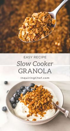 Slow cooker granola is easy and there's only one dish to clean. Just combine everything right in the slow cooker and give it a stir every hour. Fast Healthy Meals, Easy Healthy Recipes, Easy Brunch Recipes, Breakfast Recipes, Snack Recipes, Kitchenaid Slow Cooker, Slow Cooker Recipes, Cooking Recipes, Slow Cooker Granola Recipe