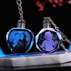 Custom Laser-Engraved Crystal Keychain with MultiColor LED Photo Engraving, Laser Engraving, Customized Gifts, Personalized Gifts, Crystal Keychain, Unique Gifts, Best Gifts, Chain Pendants, Gifts For Friends