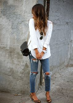 ripped jeans, classic white button down, cheetah flats, black crossbody, aviators