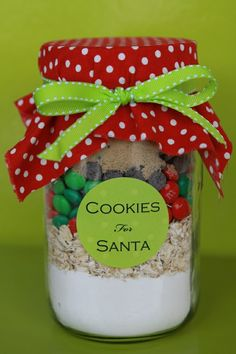 Layered ingredients to make cookies and give as a gift. - Make for school Christmas Fayre