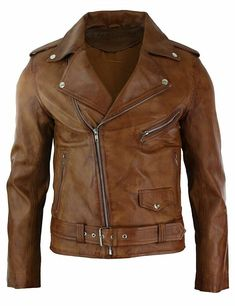 Mens Slim Fit Cross Zip Tan Brown Brando Motorcycle Real Leather Jacket - Motocycle Pictures and Wallpapers Winter Leather Jackets, Men's Leather Jacket, Revival Clothing, Men's Clothing, Wardrobe Clothing, Motorcycle Leather, Motorcycle Style, Biker Leather, Motorcycle Accessories