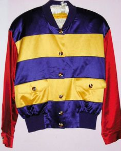 ESCADA VINTAGE BOMBER JACKET SOLD! PURPLE YELLOW RED 8 HapaChico Recycled Couture