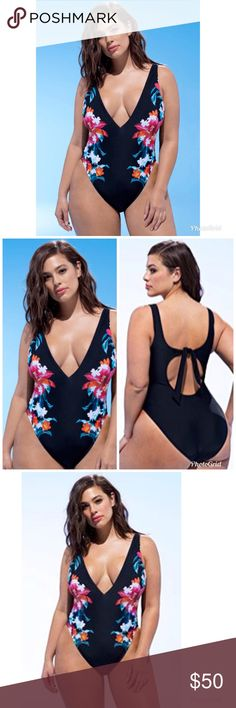 """ASHLEY GRAHAM SFA Valiente Black Floral Swimsuit ASHLEY GRAHAM  """"swimsuits for all""""  Valiente  One-Piece Swimsuit  Retail $98 Details & Care Whether you're at the beach or sitting poolside, this one-piece makes a statement with a plunging neckline and tropical blooms that enhance hourglass silhouettes. Ties in back Removable soft cups Fully lined 82% nylon, 18% spandex Hand wash, line dry Imported Women's Active & Swim Ashley Graham Swim One Pieces"""