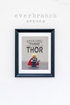 Lego Thor Marvel Superhero Always be yourself unless you can be Thor 8 x 10 Photograph Print by Everbranch on Etsy #lego #marvel #legoart #toyart #toys #boys #boysroom #boysdecor #babyboy #toddler #tween #teendecor #beyourself #quote #wordart #photography #macro #legothor #avengers #avengerdecor #avengerstheme #avengersroom