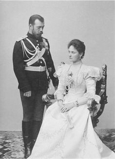 "Tsar Nicholas ll of Russia with Empress Alexandra Feodorovna of Russia.  ""AL"""