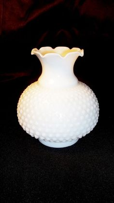 """Pair of 3"""" Fitter Vtg Fenton Ruffle Hobnail Globe Shade White Milk Glass Lamp"""