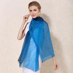 Elegantný hodvábny modro-čierny šál, rozmer 185 x 68 cm