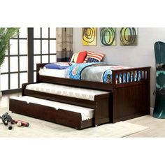 Darby home co bermuda dark walnut finish wood frame day bed double pull out trundle. Day bed measures 81 x 43 x 35 H. Features a nesting trundle , two trundles under the top bed. Some assembly required. Twin Daybed With Trundle, Trundle Bed With Storage, Daybed Sets, Bedroom Furniture, Home Furniture, Furniture Outlet, Online Furniture, Futon Bedroom, Moroccan Furniture