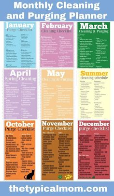 Here is a free printable monthly cleaning schedule. Here is a free printable monthly cleaning schedule eBook to help you clean and purge your house all year long and not get too overwhelmed!