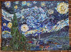Image result for mosaic tile pattern starry night