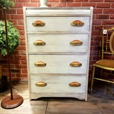 Art Deco Style Chest of Drawers with Vintage Shell Handles! Painted in the colour Plaster from Fusion Mineral Paint with a Pearl Metallic wash! Beeeutiful!