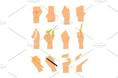 Hands with cards, pencil and scissirs. Human Icons