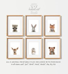 Nursery animals prints PRINTABLE art Woodland by TheCrownPrints