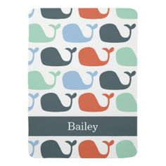 Personalized Nautical Whales Baby Blanket