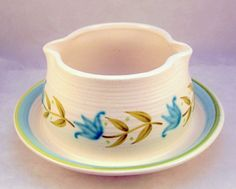 Vintage Franciscan Pottery Tulip Time gravy boat attached underplate - Franciscan